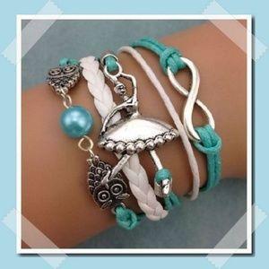 Ballerina Owls Pearl Infinity Leather Charm Bracel